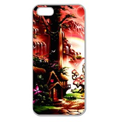 Fantasy Art Story Lodge Girl Rabbits Flowers Apple Seamless Iphone 5 Case (clear)
