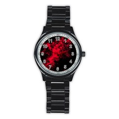 Red Smoke Stainless Steel Round Watch by berwies