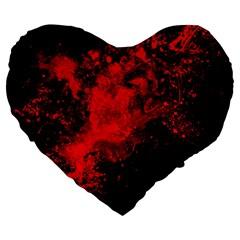 Red Smoke Large 19  Premium Flano Heart Shape Cushions by berwies