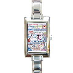 Book Collage Based On Confess Rectangle Italian Charm Watch by BangZart