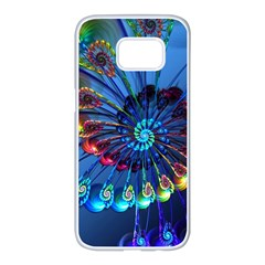 Top Peacock Feathers Samsung Galaxy S7 Edge White Seamless Case by BangZart