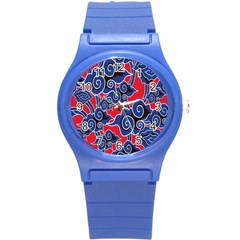 Batik Background Vector Round Plastic Sport Watch (s) by BangZart