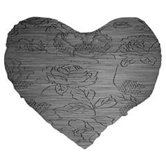 Embossed Rose Pattern Large 19  Premium Flano Heart Shape Cushions