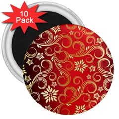 Golden Swirls Floral Pattern 3  Magnets (10 Pack)  by BangZart