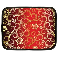 Golden Swirls Floral Pattern Netbook Case (large) by BangZart
