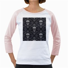 Dark Horror Skulls Pattern Girly Raglans by BangZart