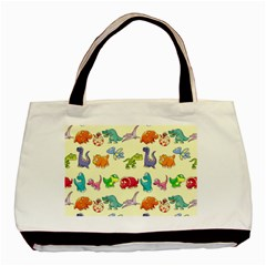 Group Of Funny Dinosaurs Graphic Basic Tote Bag by BangZart