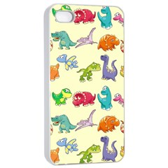 Group Of Funny Dinosaurs Graphic Apple Iphone 4/4s Seamless Case (white) by BangZart