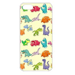 Group Of Funny Dinosaurs Graphic Apple Iphone 5 Seamless Case (white) by BangZart