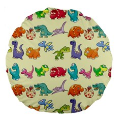 Group Of Funny Dinosaurs Graphic Large 18  Premium Round Cushions by BangZart