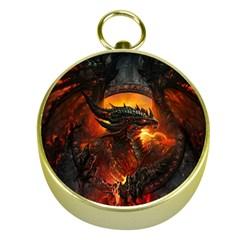 Dragon Legend Art Fire Digital Fantasy Gold Compasses by BangZart