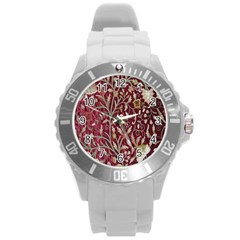 Crewel Fabric Tree Of Life Maroon Round Plastic Sport Watch (l) by BangZart