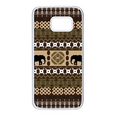 Elephant African Vector Pattern Samsung Galaxy S7 White Seamless Case by BangZart