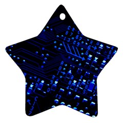 Blue Circuit Technology Image Star Ornament (two Sides) by BangZart