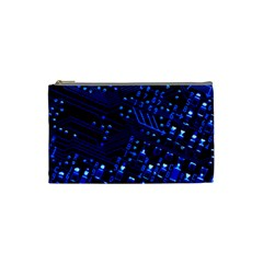 Blue Circuit Technology Image Cosmetic Bag (small)  by BangZart