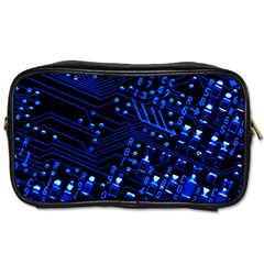 Blue Circuit Technology Image Toiletries Bags 2 Side by BangZart
