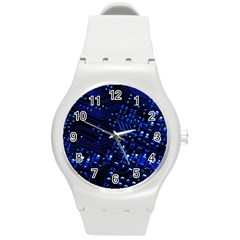 Blue Circuit Technology Image Round Plastic Sport Watch (m) by BangZart