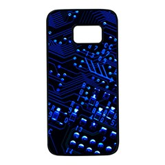 Blue Circuit Technology Image Samsung Galaxy S7 Black Seamless Case