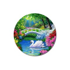Swan Bird Spring Flowers Trees Lake Pond Landscape Original Aceo Painting Art Magnet 3  (round) by BangZart
