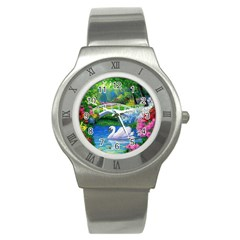 Swan Bird Spring Flowers Trees Lake Pond Landscape Original Aceo Painting Art Stainless Steel Watch by BangZart