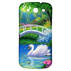 Swan Bird Spring Flowers Trees Lake Pond Landscape Original Aceo Painting Art Samsung Galaxy S3 S Iii Classic Hardshell Back Case by BangZart