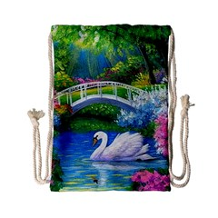 Swan Bird Spring Flowers Trees Lake Pond Landscape Original Aceo Painting Art Drawstring Bag (small) by BangZart