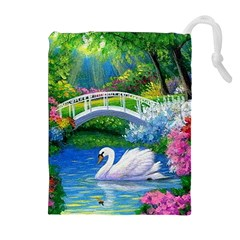 Swan Bird Spring Flowers Trees Lake Pond Landscape Original Aceo Painting Art Drawstring Pouches (extra Large) by BangZart