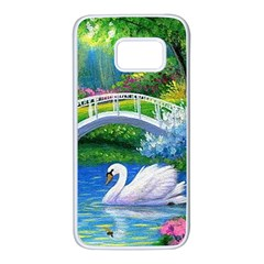 Swan Bird Spring Flowers Trees Lake Pond Landscape Original Aceo Painting Art Samsung Galaxy S7 White Seamless Case by BangZart