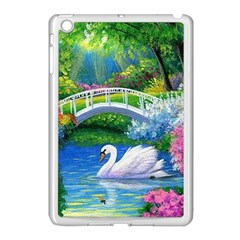 Swan Bird Spring Flowers Trees Lake Pond Landscape Original Aceo Painting Art Apple Ipad Mini Case (white) by BangZart