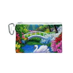 Swan Bird Spring Flowers Trees Lake Pond Landscape Original Aceo Painting Art Canvas Cosmetic Bag (s) by BangZart