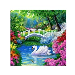 Swan Bird Spring Flowers Trees Lake Pond Landscape Original Aceo Painting Art Small Satin Scarf (square)