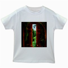 Beautiful World Entry Door Fantasy Kids White T Shirts by BangZart