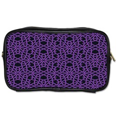 Triangle Knot Purple And Black Fabric Toiletries Bags by BangZart