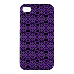Triangle Knot Purple And Black Fabric Apple Iphone 4/4s Premium Hardshell Case by BangZart