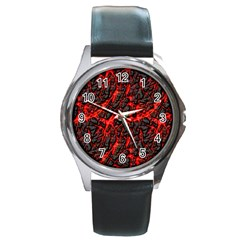 Volcanic Textures  Round Metal Watch by BangZart
