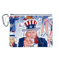 Independence Day United States Of America Canvas Cosmetic Bag (l) by BangZart