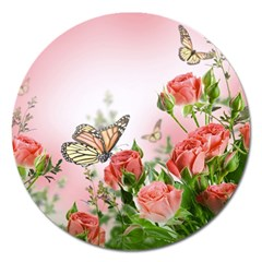 Flora Butterfly Roses Magnet 5  (round)