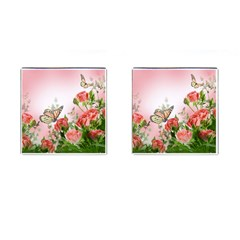 Flora Butterfly Roses Cufflinks (square) by BangZart