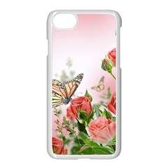 Flora Butterfly Roses Apple Iphone 7 Seamless Case (white) by BangZart