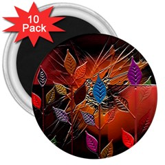 Colorful Leaves 3  Magnets (10 Pack)  by BangZart