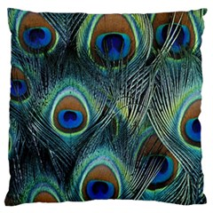 Feathers Art Peacock Sheets Patterns Large Cushion Case (two Sides) by BangZart