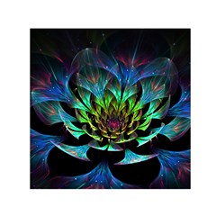 Fractal Flowers Abstract Petals Glitter Lights Art 3d Small Satin Scarf (square)