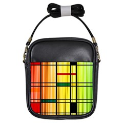 Line Rainbow Grid Abstract Girls Sling Bags by BangZart