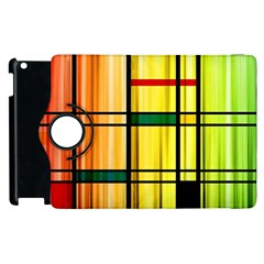 Line Rainbow Grid Abstract Apple Ipad 2 Flip 360 Case by BangZart