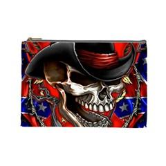 Confederate Flag Usa America United States Csa Civil War Rebel Dixie Military Poster Skull Cosmetic Bag (large)  by BangZart