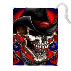 Confederate Flag Usa America United States Csa Civil War Rebel Dixie Military Poster Skull Drawstring Pouches (xxl) by BangZart