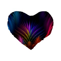 Colored Rays Symmetry Feather Art Standard 16  Premium Heart Shape Cushions
