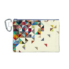 Retro Pattern Of Geometric Shapes Canvas Cosmetic Bag (m) by BangZart