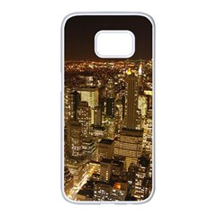 New York City At Night Future City Night Samsung Galaxy S7 Edge White Seamless Case by BangZart