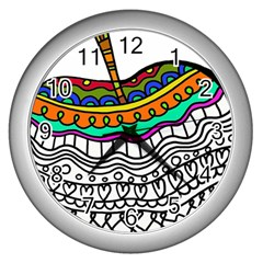 Abstract Apple Art Colorful Wall Clocks (silver)  by Nexatart